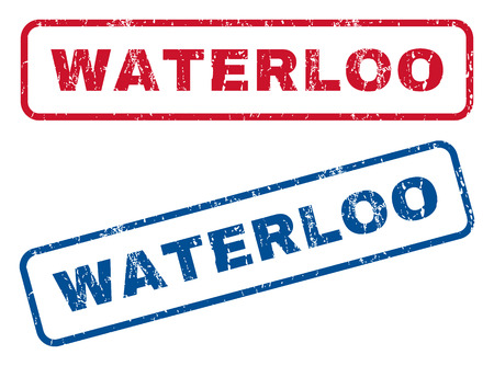 waterloo: Waterloo text rubber seal stamp watermarks. Vector style is blue and red ink caption inside rounded rectangular shape. Grunge design and unclean texture. Blue and red emblems. Illustration