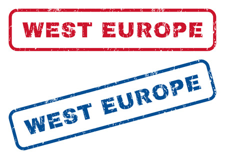splashed: West Europe text rubber seal stamp watermarks. Vector style is blue and red ink caption inside rounded rectangular shape. Grunge design and scratched texture. Blue and red signs.