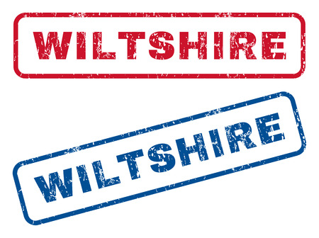 Wiltshire text rubber seal stamp watermarks. Vector style is blue and red ink caption inside rounded rectangular shape. Grunge design and dust texture. Blue and red stickers.
