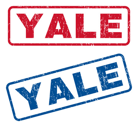 yale: Yale text rubber seal stamp watermarks. Vector style is blue and red ink caption inside rounded rectangular banner. Grunge design and unclean texture. Blue and red emblems. Illustration