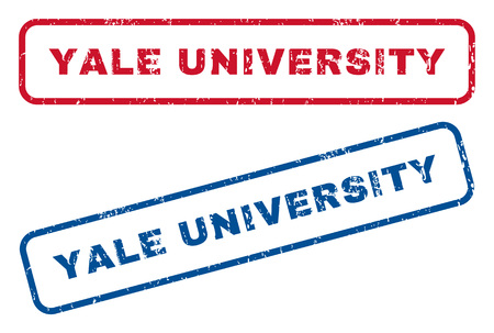 yale: Yale University text rubber seal stamp watermarks. Vector style is blue and red ink caption inside rounded rectangular shape. Grunge design and dust texture. Blue and red signs.
