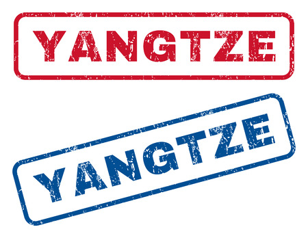 splashed: Yangtze text rubber seal stamp watermarks. Vector style is blue and red ink tag inside rounded rectangular shape. Grunge design and scratched texture. Blue and red emblems.