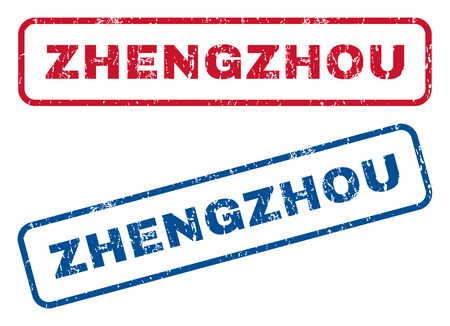 splashed: Zhengzhou text rubber seal stamp watermarks. Vector style is blue and red ink tag inside rounded rectangular shape. Grunge design and unclean texture. Blue and red signs. Illustration