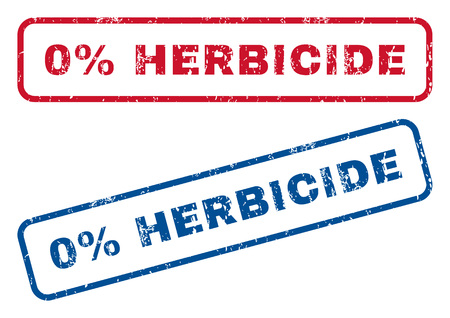 herbicide: 0 Percent Herbicide text rubber seal stamp watermarks. Vector style is blue and red ink tag inside rounded rectangular shape. Grunge design and dust texture. Blue and red stickers. Illustration