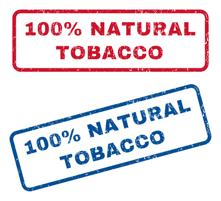fully: 100 Percent Natural Tobacco text rubber seal stamp watermarks. Vector style is blue and red ink tag inside rounded rectangular shape. Grunge design and dust texture. Blue and red stickers. Illustration