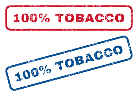 fully: 100 Percent Tobacco text rubber seal stamp watermarks. Vector style is blue and red ink tag inside rounded rectangular shape. Grunge design and unclean texture. Blue and red emblems.