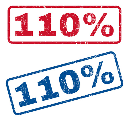 one hundred and ten: 110 Percent text rubber seal stamp watermarks. Vector style is blue and red ink caption inside rounded rectangular banner. Grunge design and unclean texture. Blue and red stickers.