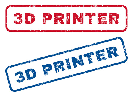 3D Printer text rubber seal stamp watermarks. Vector style is blue and red ink caption inside rounded rectangular banner. Grunge design and dust texture. Blue and red stickers.