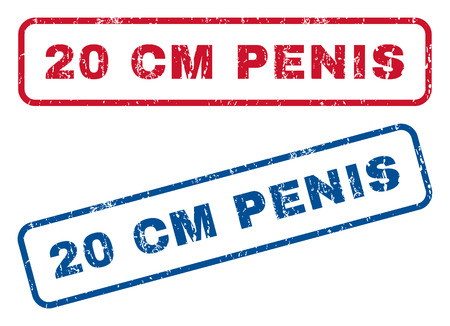 20 cm Penis text rubber seal stamp watermarks. Vector style is blue and red ink caption inside rounded rectangular banner. Grunge design and dirty texture. Blue and red signs.