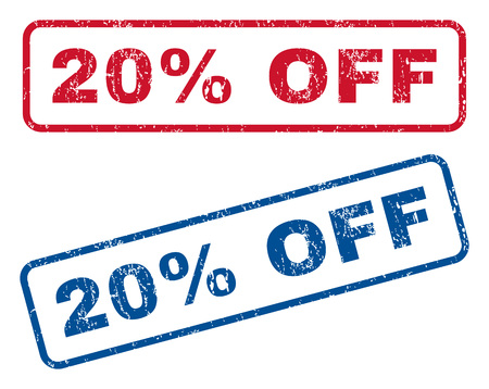 bargains: 20 Percent Off text rubber seal stamp watermarks. Vector style is blue and red ink tag inside rounded rectangular banner. Grunge design and unclean texture. Blue and red stickers.