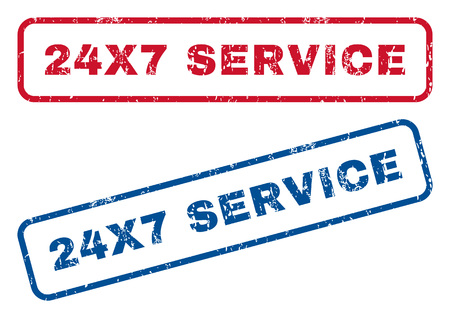24x7: 24X7 Service text rubber seal stamp watermarks. Vector style is blue and red ink tag inside rounded rectangular shape. Grunge design and dirty texture. Blue and red emblems.