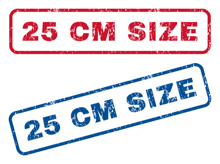 centimetre: 25 cm Size text rubber seal stamp watermarks. Vector style is blue and red ink tag inside rounded rectangular banner. Grunge design and dirty texture. Blue and red signs.