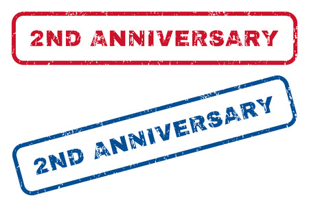 2nd: 2nd Anniversary text rubber seal stamp watermarks. Vector style is blue and red ink caption inside rounded rectangular banner. Grunge design and unclean texture. Blue and red emblems.