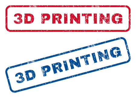 3D Printing text rubber seal stamp watermarks. Vector style is blue and red ink caption inside rounded rectangular banner. Grunge design and dirty texture. Blue and red emblems. Illustration