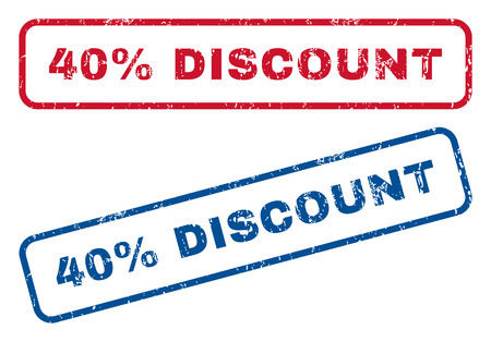 bargains: 40 Percent Discount text rubber seal stamp watermarks. Vector style is blue and red ink tag inside rounded rectangular banner. Grunge design and dirty texture. Blue and red signs.
