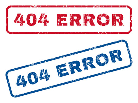 404 Error text rubber seal stamp watermarks. Vector style is blue and red ink tag inside rounded rectangular shape. Grunge design and dust texture. Blue and red signs.