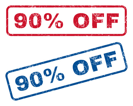 bargains: 90 Percent Off text rubber seal stamp watermarks. Vector style is blue and red ink caption inside rounded rectangular banner. Grunge design and unclean texture. Blue and red signs.