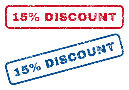bargains: 15 Percent Discount text rubber seal stamp watermarks. Vector style is blue and red ink caption inside rounded rectangular shape. Grunge design and scratched texture. Blue and red signs.