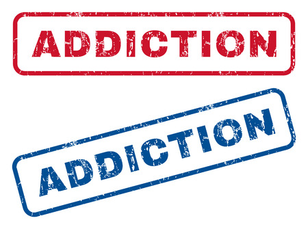 fixation: Addiction text rubber seal stamp watermarks. Vector style is blue and red ink caption inside rounded rectangular banner. Grunge design and dust texture. Blue and red emblems.