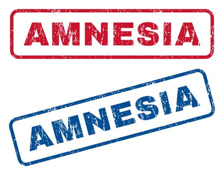 amnesia: Amnesia text rubber seal stamp watermarks. Vector style is blue and red ink tag inside rounded rectangular banner. Grunge design and dirty texture. Blue and red emblems.