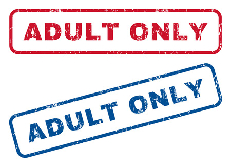 adult only: Adult Only text rubber seal stamp watermarks. Vector style is blue and red ink caption inside rounded rectangular banner. Grunge design and dust texture. Blue and red signs.