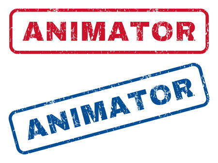 Animator text rubber seal stamp watermarks. Vector style is blue and red ink tag inside rounded rectangular banner. Grunge design and scratched texture. Blue and red stickers.