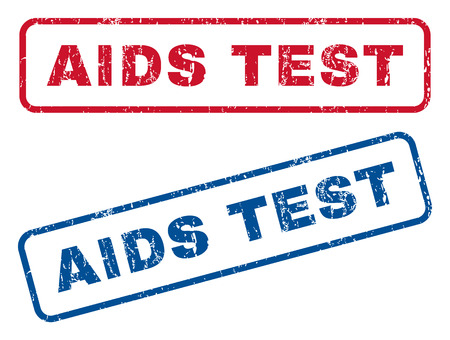 aids virus: AIDS Test text rubber seal stamp watermarks. Vector style is blue and red ink tag inside rounded rectangular shape. Grunge design and dust texture. Blue and red stickers. Illustration