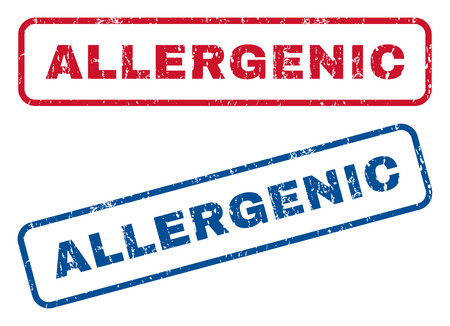 allergenic: Allergenic text rubber seal stamp watermarks. Vector style is blue and red ink tag inside rounded rectangular shape. Grunge design and dirty texture. Blue and red emblems.