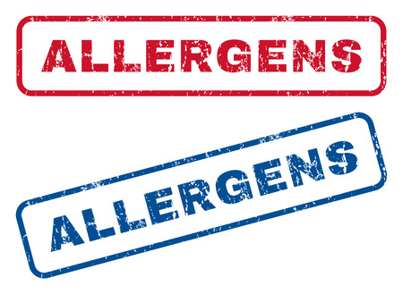allergens: Allergens text rubber seal stamp watermarks. Vector style is blue and red ink tag inside rounded rectangular shape. Grunge design and dirty texture. Blue and red emblems.
