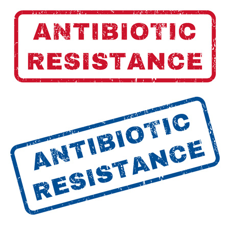 Antibiotic Resistance text rubber seal stamp watermarks. Vector style is blue and red ink caption inside rounded rectangular shape. Grunge design and dirty texture. Blue and red signs.