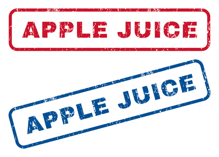 apple juice: Apple Juice text rubber seal stamp watermarks. Vector style is blue and red ink caption inside rounded rectangular shape. Grunge design and unclean texture. Blue and red emblems.