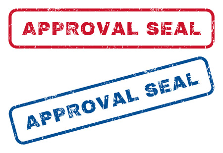 admittance: Approval Seal text rubber seal stamp watermarks. Vector style is blue and red ink tag inside rounded rectangular shape. Grunge design and dirty texture. Blue and red stickers.