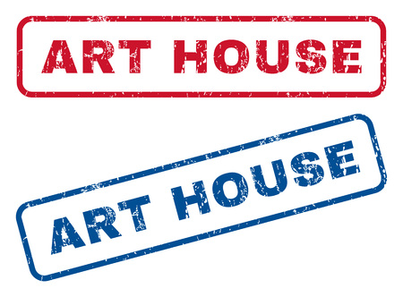 dirty house: Art House text rubber seal stamp watermarks. Vector style is blue and red ink tag inside rounded rectangular banner. Grunge design and dirty texture. Blue and red signs. Illustration