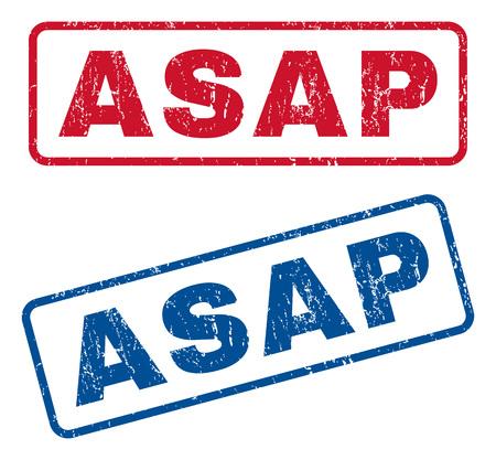 Asap text rubber seal stamp watermarks. El estilo del vector es subtítulo de la tinta azul y roja dentro de forma rectangular redondeada. Diseño Grunge y textura sucia. Signos azules y rojos.