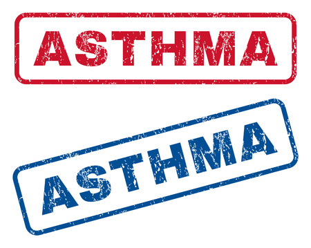 breathless: Asthma text rubber seal stamp watermarks. Vector style is blue and red ink tag inside rounded rectangular banner. Grunge design and dust texture. Blue and red stickers. Illustration