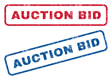 bid: Auction Bid text rubber seal stamp watermarks. Vector style is blue and red ink tag inside rounded rectangular banner. Grunge design and dust texture. Blue and red signs. Vectores