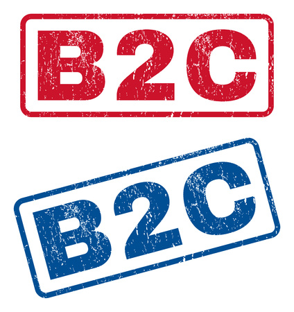 b2c: B2C text rubber seal stamp watermarks. Vector style is blue and red ink caption inside rounded rectangular banner. Grunge design and dust texture. Blue and red stickers.