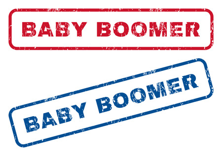 Baby Boomer text rubber seal stamp watermarks. Vector style is blue and red ink tag inside rounded rectangular banner. Grunge design and dirty texture. Blue and red signs.