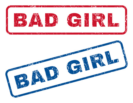 bad girl: Bad Girl text rubber seal stamp watermarks. Vector style is blue and red ink tag inside rounded rectangular shape. Grunge design and unclean texture. Blue and red emblems.