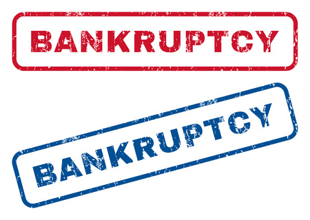 Bankruptcy text rubber seal stamp watermarks. Vector style is blue and red ink caption inside rounded rectangular banner. Grunge design and dirty texture. Blue and red signs.