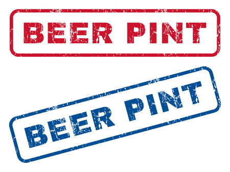 pint: Beer Pint text rubber seal stamp watermarks. Vector style is blue and red ink tag inside rounded rectangular banner. Grunge design and dust texture. Blue and red emblems.