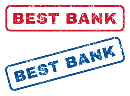 optimum: Best Bank text rubber seal stamp watermarks. Vector style is blue and red ink caption inside rounded rectangular banner. Grunge design and dirty texture. Blue and red emblems.