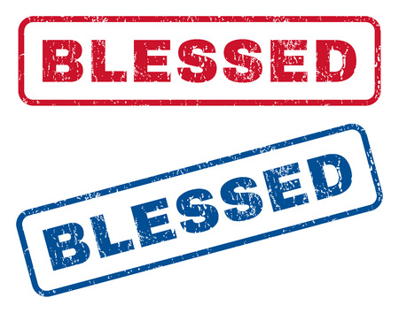 Blessed text rubber seal stamp watermarks. Vector style is blue and red ink caption inside rounded rectangular banner. Grunge design and unclean texture. Blue and red stickers.