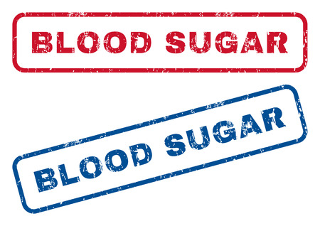 blood sugar: Blood Sugar text rubber seal stamp watermarks. Vector style is blue and red ink caption inside rounded rectangular shape. Grunge design and unclean texture. Blue and red emblems.