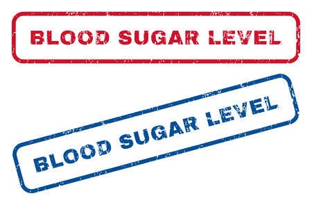 blood sugar: Blood Sugar Level text rubber seal stamp watermarks. Vector style is blue and red ink caption inside rounded rectangular shape. Grunge design and scratched texture. Blue and red emblems.