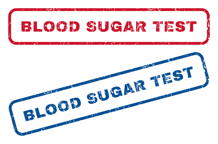 blood sugar: Blood Sugar Test text rubber seal stamp watermarks. Vector style is blue and red ink tag inside rounded rectangular banner. Grunge design and scratched texture. Blue and red signs.