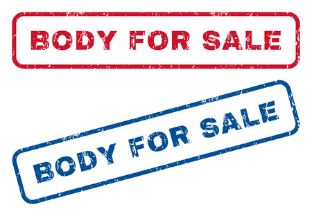 Body For Sale text rubber seal stamp watermarks. Vector style is blue and red ink caption inside rounded rectangular shape. Grunge design and scratched texture. Blue and red emblems. Ilustração
