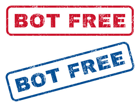bot: Bot Free text rubber seal stamp watermarks. Vector style is blue and red ink tag inside rounded rectangular banner. Grunge design and dirty texture. Blue and red signs.