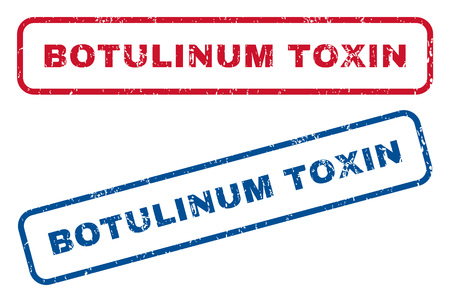 biohazard: Botulinum Toxin text rubber seal stamp watermarks. Vector style is blue and red ink tag inside rounded rectangular shape. Grunge design and dust texture. Blue and red stickers. Illustration