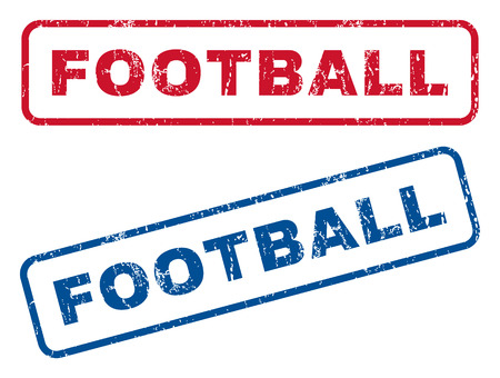 dirty football: Football text rubber seal stamp watermarks. Vector style is blue and red ink tag inside rounded rectangular banner. Grunge design and dirty texture. Blue and red emblems.